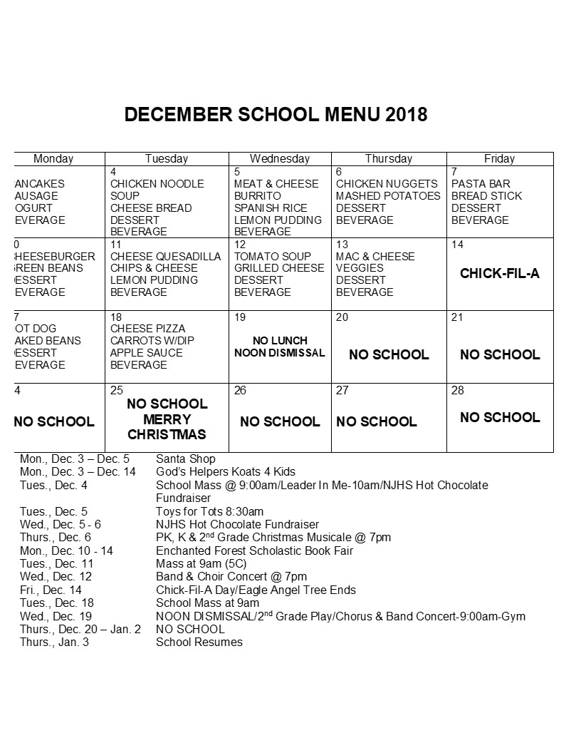 Lunch Menu for December