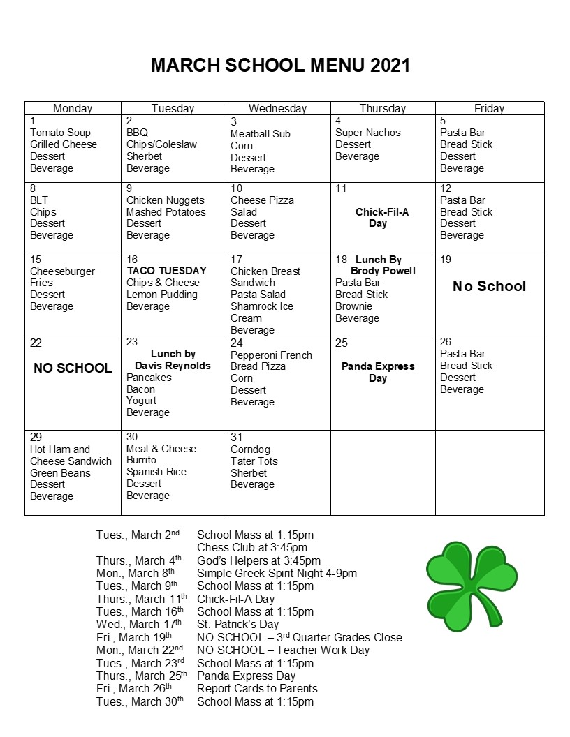 Lunch Menu for March